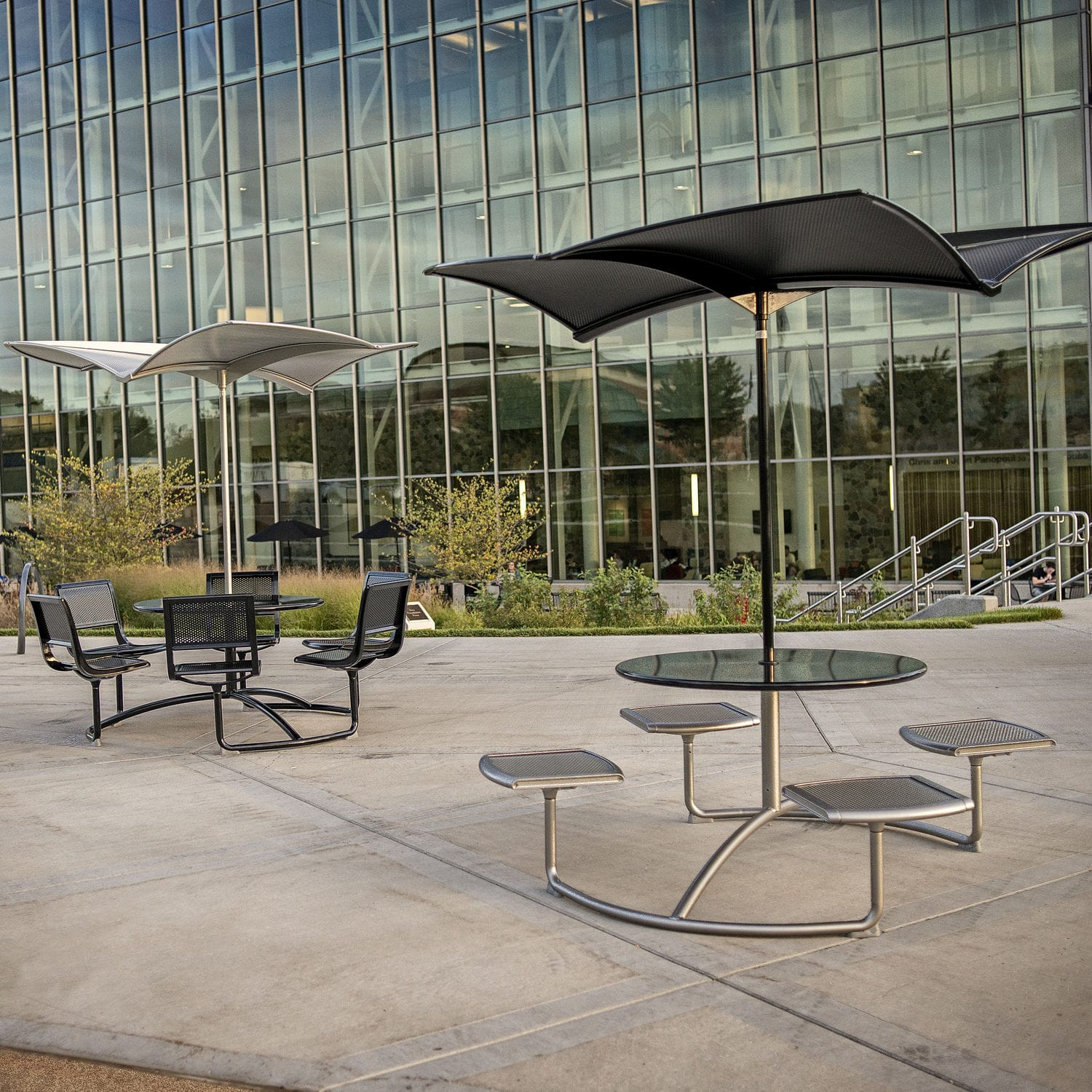 contemporary table metal round outdoor mingle by frog