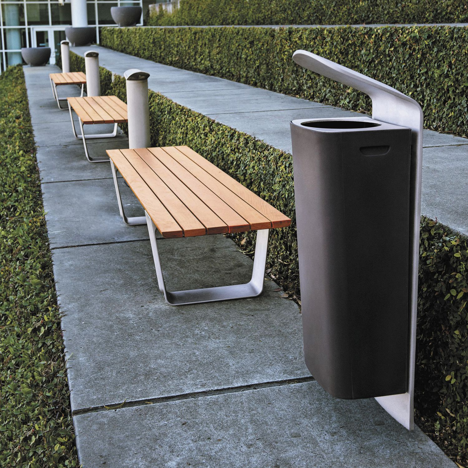 public trash can aluminum contemporary multiplicity by yves