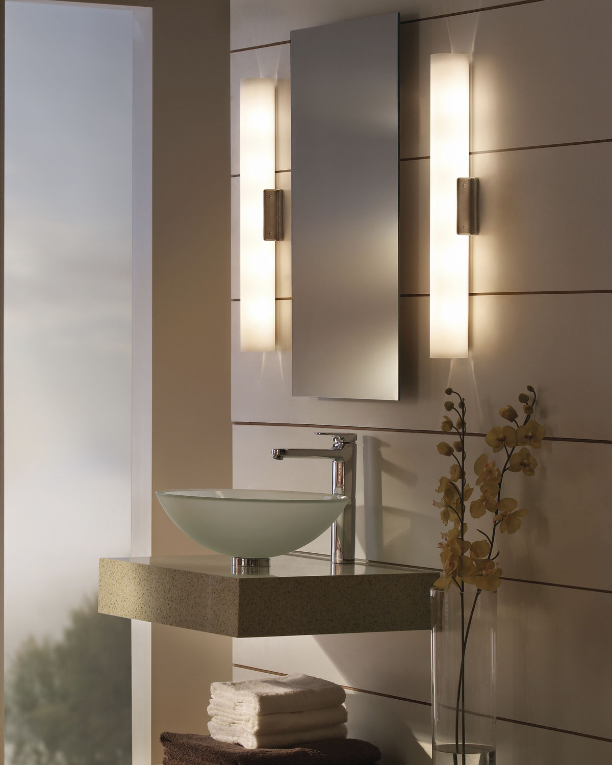 Contemporary Bathroom Wall Lights contemporary wall light / bathroom / glass / for mirrors - solace