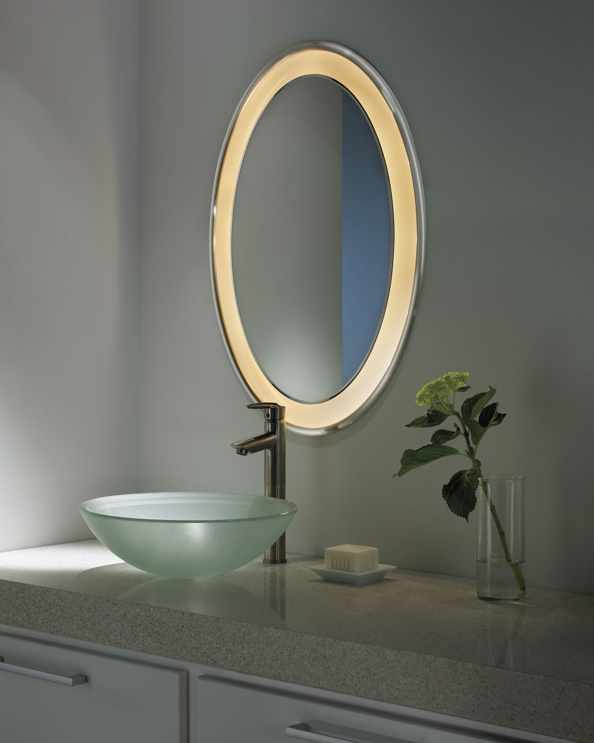Wall Mounted Mirror Contemporary Oval Illuminated