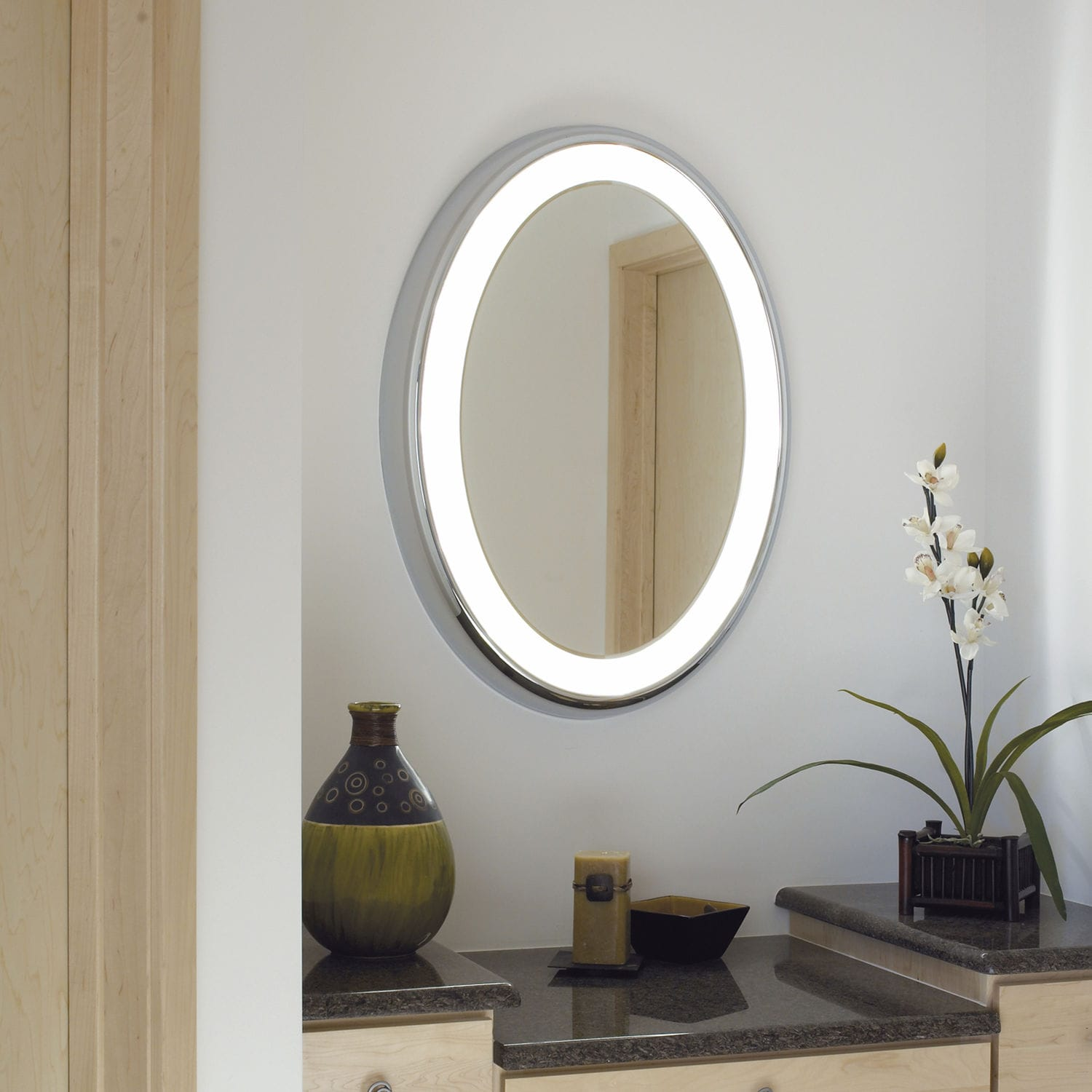 Wall Mounted Mirror Contemporary Oval Illuminated TIGRIS MIRROR OVAL TECH LIGHTING