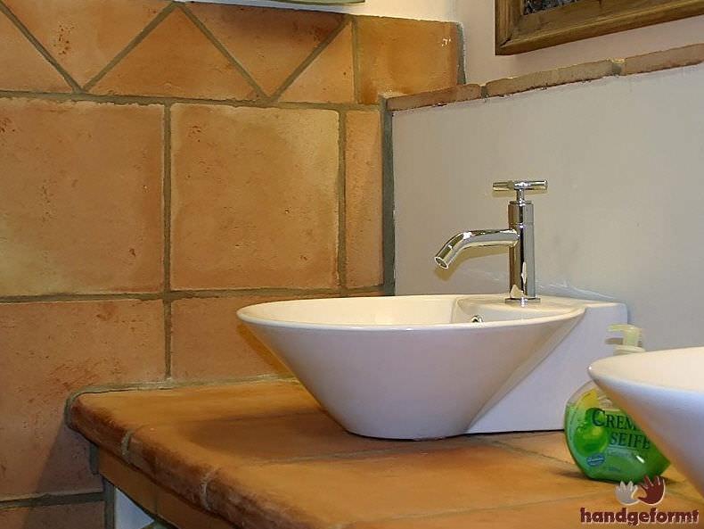 Indoor Tile Bathroom Floor Terracotta Art Flamenca Handgeformt