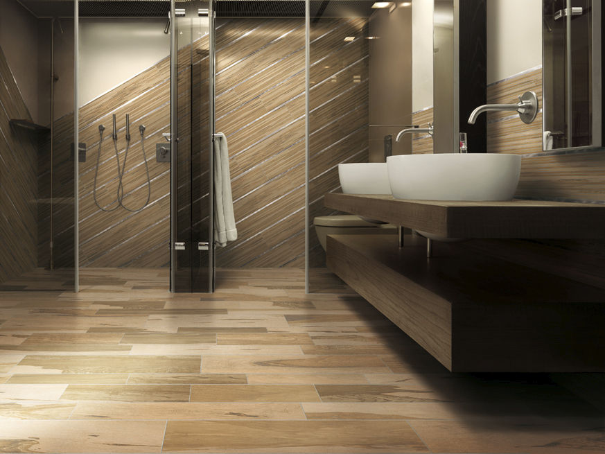 Bathroom porcelain stoneware wall tile: wood look - OVER ...