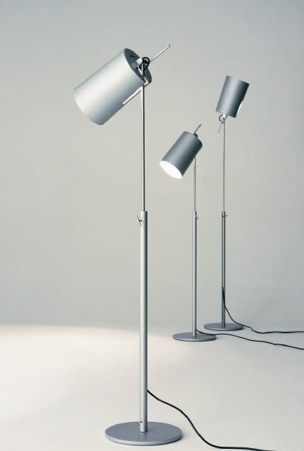 Contemporary aluminium floor lamp (adjustable) - TUBA by Rolf