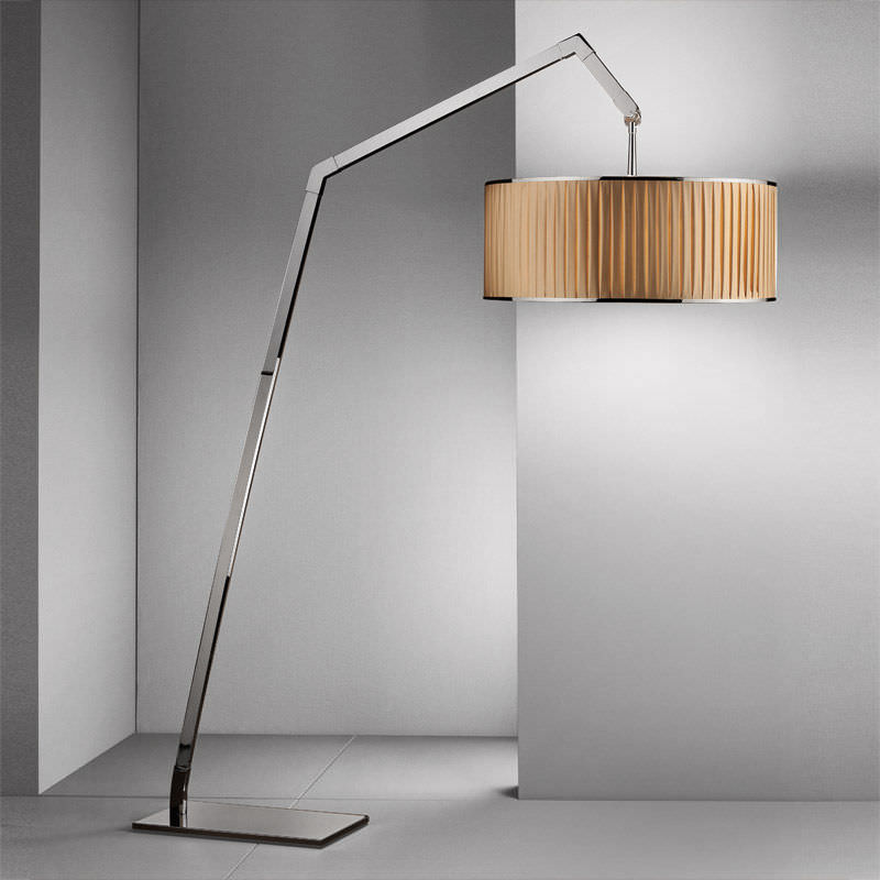 Contemporary fabric floor lamp (swing arm) - GINEVRA ARCO XL