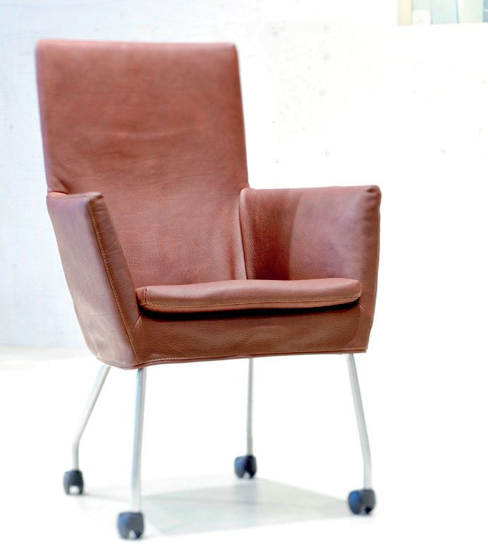 Contemporary leather chair with casters - DONNA ROCK by Gerard van