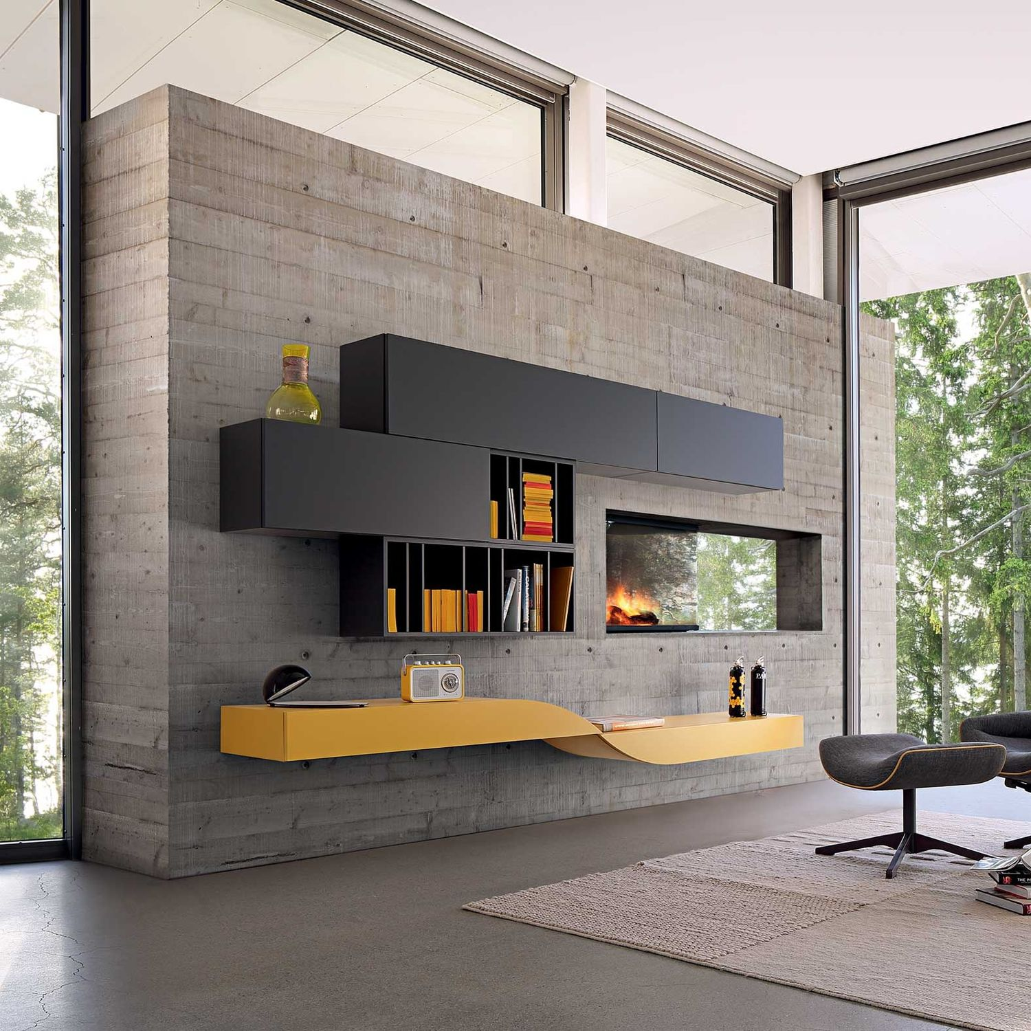 Designer Wall Units For Living Room Beauteous Contemporary Living Room Wall Unit  Les Contemporains Decorating Inspiration