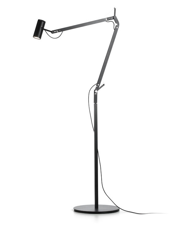 Contemporary metal floor lamp (swing arm) - POLO by Joan Gaspar