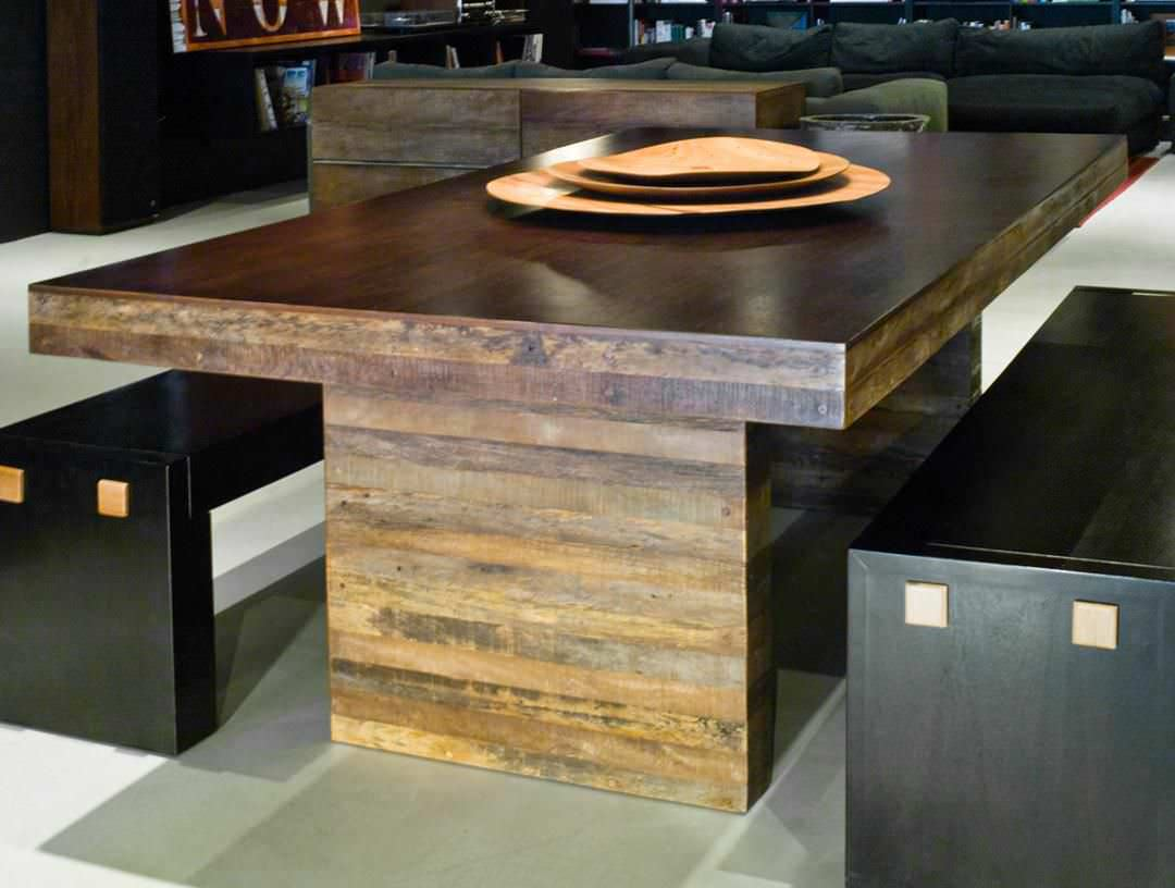 Contemporary table in reclaimed wood - STRIP - environment furniture