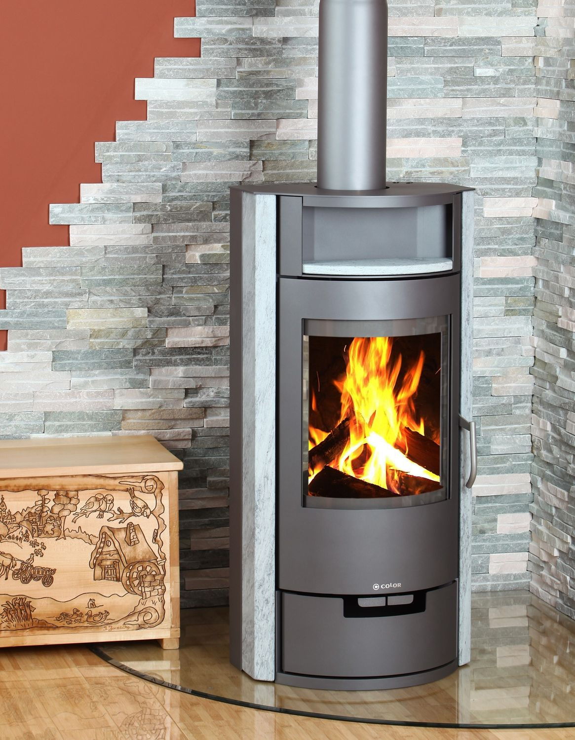 Contemporary wood-burning stove - A5 VERTIGO SERPENTINO - Color ...
