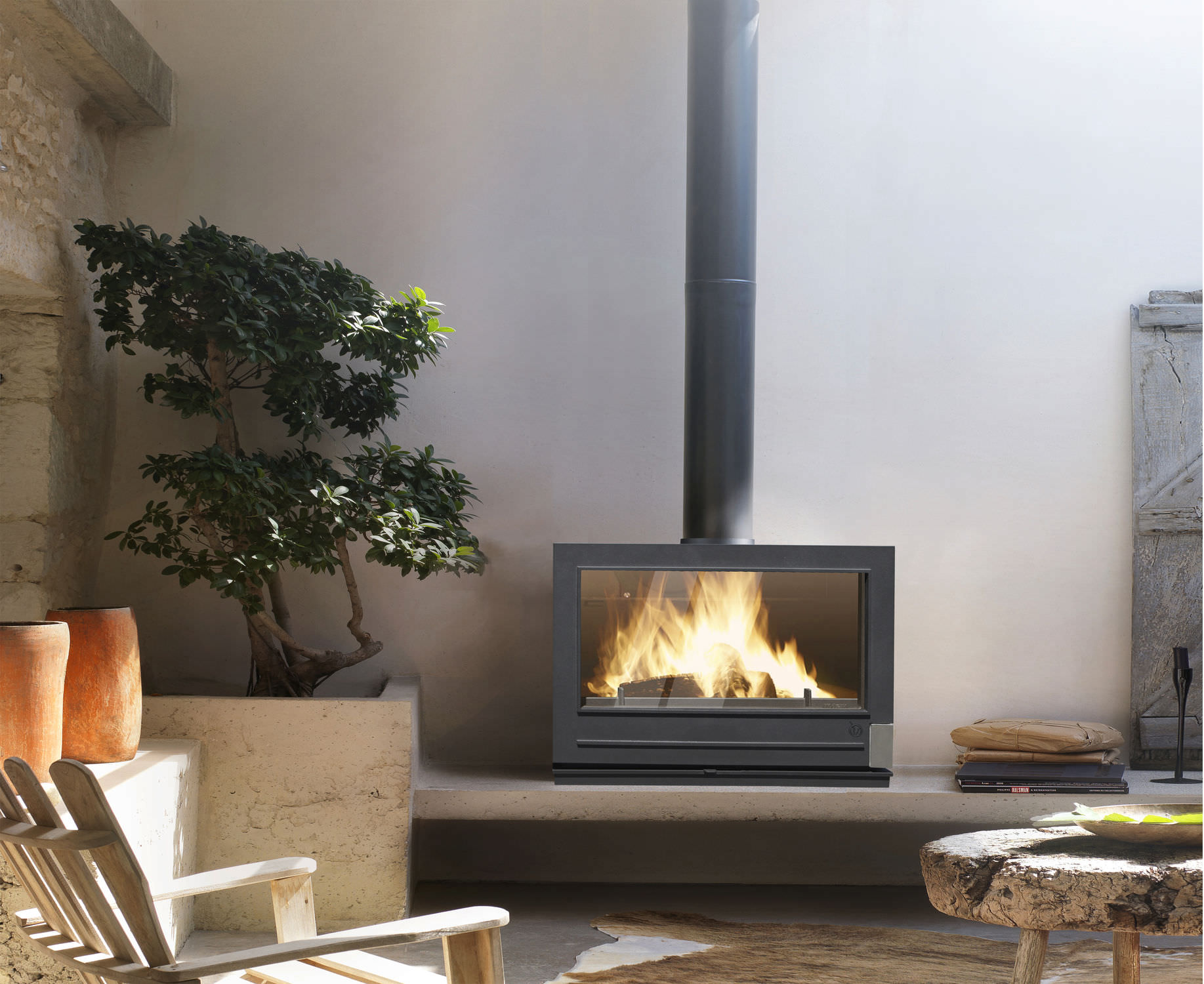 Contemporary wood-burning stove (cast iron) - PRESTON - INVICTA