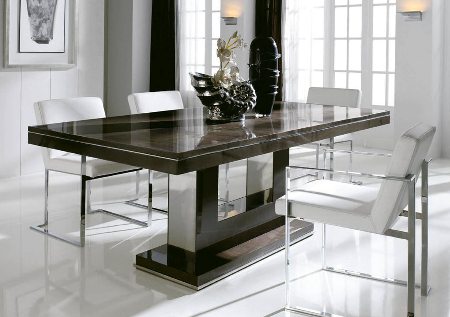 Dining Table With Emperador Marble Top And Walnut Base. | Tables |  Pinterest | Marble Top, Marbles And Dining