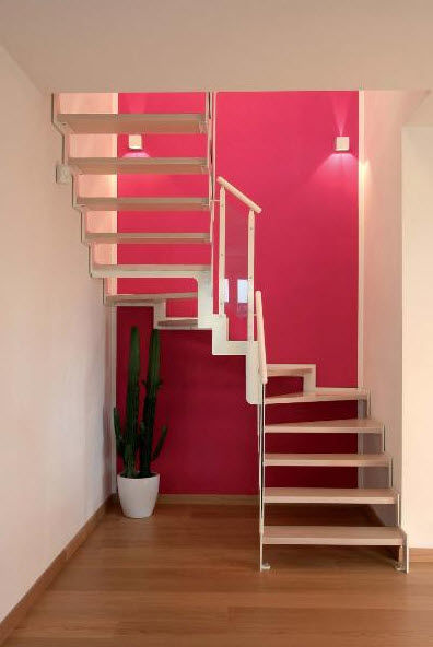 Half Turn Staircase Metal Frame Wooden Steps Lateral