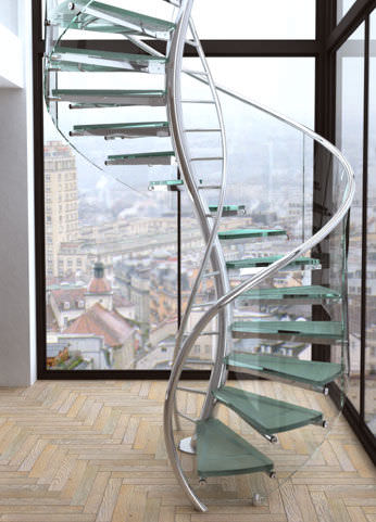 Spiral design staircase (glass steps) - CONCEPT DNA V4 - SPIRAL Stairs