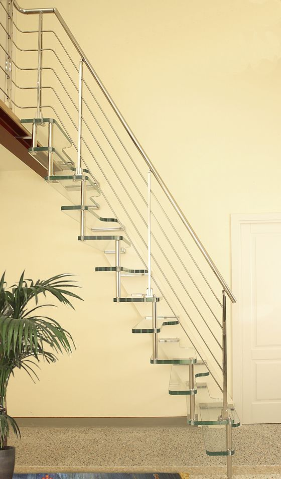 Straight staircase suspended metal frame glass steps nautical