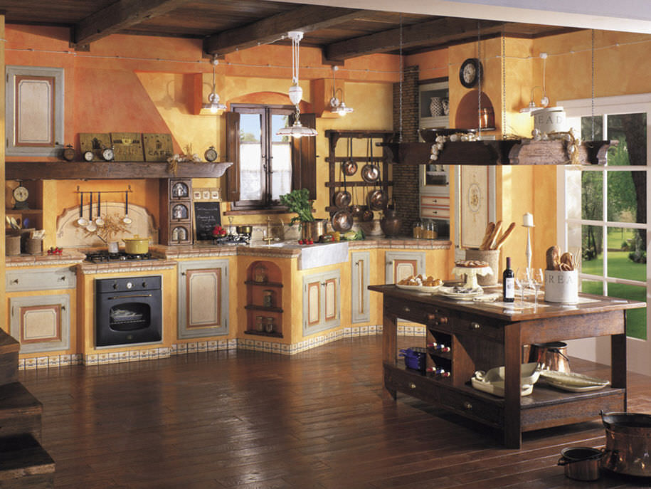 Traditional solid wood kitchen (rustic style) - Mobili di Castello