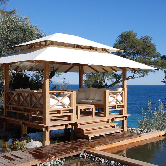Wooden gazebo (fabric covering) - SUNRISE - HONEYMOON