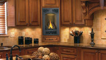 Gas fireplace / contemporary / closed hearth / wall-mounted