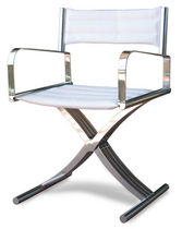 Contemporary garden chair / with armrests / fabric