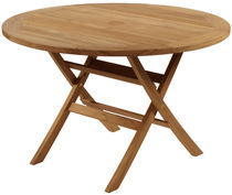 Traditional table / wooden / round / garden