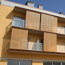 Wooden solar shading / HPL / for facades