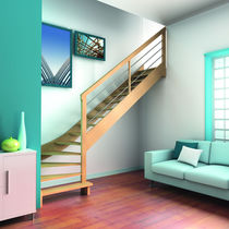 Quarter-turn staircase / straight / wooden steps / wooden frame