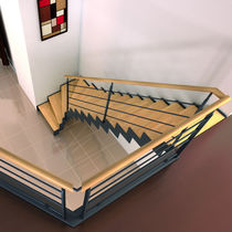 Quarter-turn staircase / straight / wooden steps / metal frame