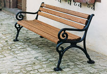 Public bench / traditional / wooden / cast iron