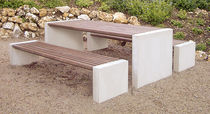 Contemporary picnic table / wooden / concrete / rectangular