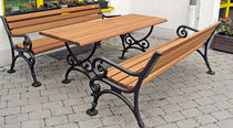 Traditional picnic table / wooden / cast iron / rectangular