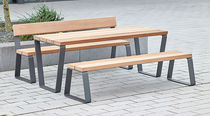 Contemporary bench and table set / galvanized steel / wooden / exterior