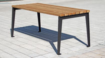 Contemporary picnic table / wooden / cast iron / rectangular