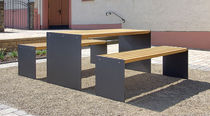 Contemporary picnic table / wooden / galvanized steel / rectangular