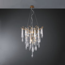 Traditional chandelier / glass / bronze / halogen