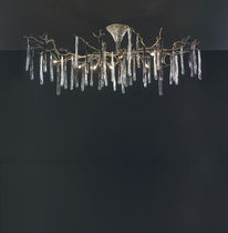 Traditional ceiling light / glass / bronze / halogen