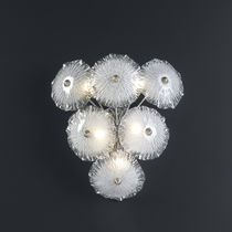 Contemporary wall light / metal / glass