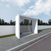 Concrete bus shelter / tempered glass