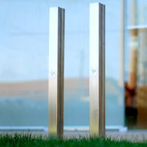 Security bollard / concrete / stainless steel / high