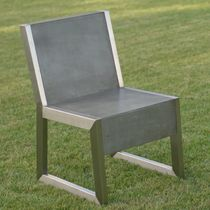 Contemporary chair / stainless steel / fiberglass / for public spaces