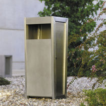 Public trash can / stainless steel / concrete / contemporary