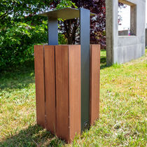 Public trash can / metal / wooden / contemporary