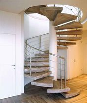 Spiral staircase / oak steps / metal frame / without risers