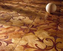 Solid wood flooring / glued / antique oak / inlaid