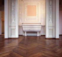 Solid parquet flooring / glued / antique oak / herringbone