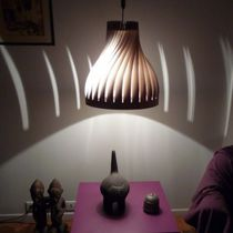 Pendant lamp / contemporary / wooden / handmade