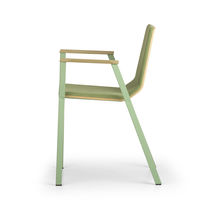 Contemporary visitor chair / fabric / wooden / with armrests