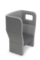 Contemporary visitor armchair / fabric / high-back / gray