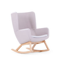 Contemporary armchair / fabric / wooden / high-back