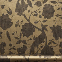 Contemporary wallpaper / floral pattern / washable / brown