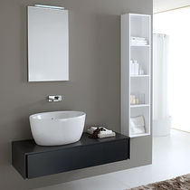 Wall-hung washbasin cabinet / wooden / contemporary / kit